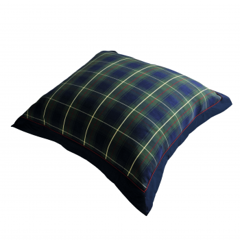 Oxford Dark Blue Tartan Flood Cushion Cover - 26x26 inch