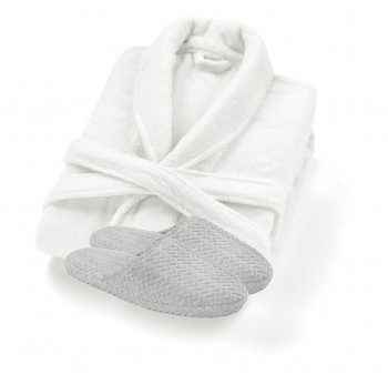 Valencia Bambou Bathrobe & Chevron Slippers Set
